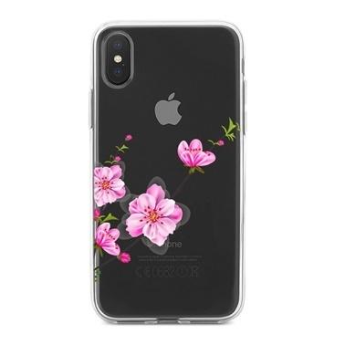 Lopard iPhone Xs Max Kılıf Silikon Arka Koruma Kapak Japon Çiçeği Desenli Renkli